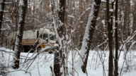 Garbage truck rides along a forest road.