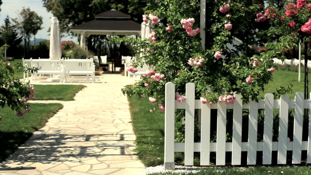 garden with picket fence and roses