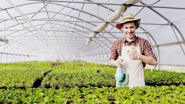 SLO-MO-DS-Gärtner zeigt einen Daumen sich im Gewächshaus