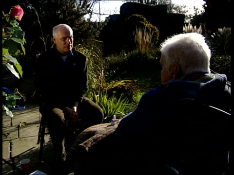 Christopher Lloyd LMS Lloyd and Glass sitting in garden ZOOM IN BV Lloyd and Glass Christopher Lloyd interview SOT that's not very profound remark /...