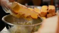 Garlic bread cooking