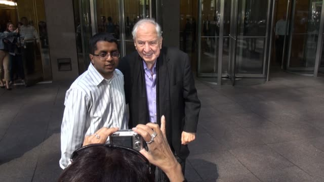 Garry Marshall leaving SiriusXM Satellite Radio poses with fans on September 23 2014 in New York City