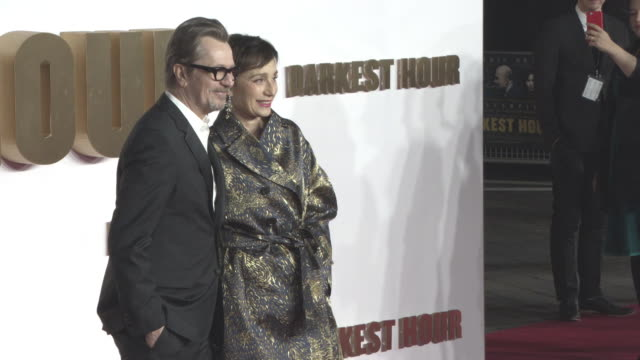 Gary Oldman Kristin Scott Thomas at 'Darkest Hour' UK Premiere at Odeon Leicester Square on December 11 2017 in London England