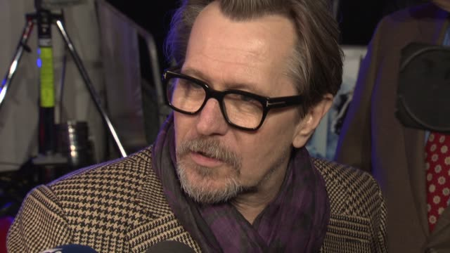 INTERVIEW Gary Oldman on what attracted him to the film and David Bowie at 'RoboCop' UK film premiere at BFI IMAX on February 5 2014 in London England