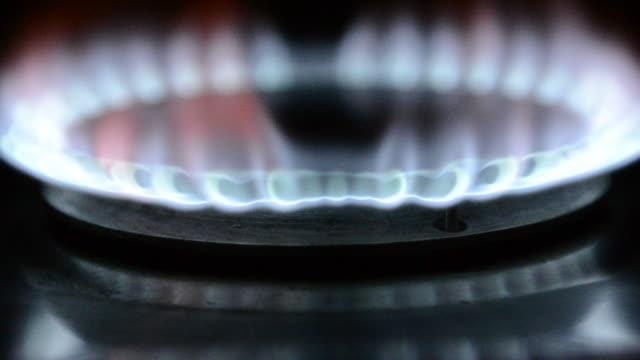 Gas burner on close up