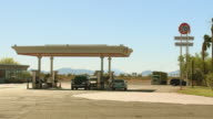 WS, Gas station in desert landscape, Blythe, California, USA