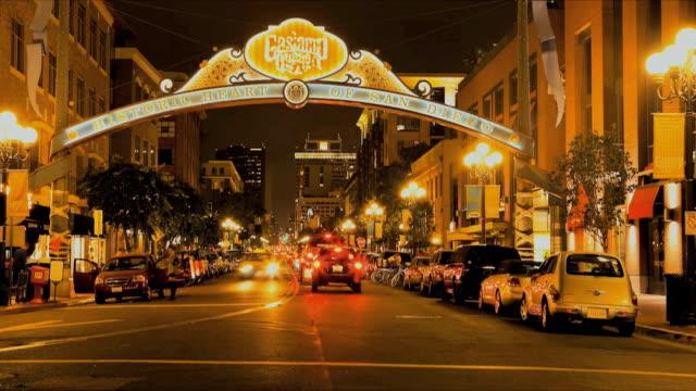 T/L WS Gaslamp Quarter street traffic at night, San Diego, California, USA