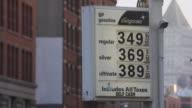 Gasoline Price Sign in a Manhattan Gas Station