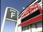 Gate F sign of frame large red Wrigley Field sign on stadium Wrigley Field Home Of Chicago Cubs Major League Baseball MLB sports