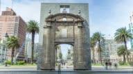Gateway of the Citadel (known as 'Puerta de la Ciudadela') in Plaza Independencia, Montevideo downtown, Uruguay