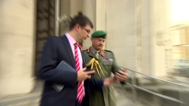Gavin Williamson arrival at Ministry of Defence ENGLAND London Whitehall EXT Stephen Lovegrove and General Sir Gordon Messenger waiting / 'Ministry...