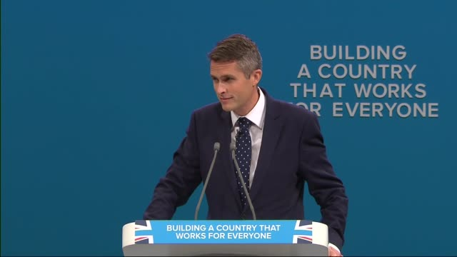 Gavin Williamson replaces Michael Fallon as Defence Secretary 4102017 INT Gavin Williamson along to speak at podium and speech SOT the peddling of...