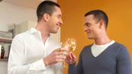 HD: Gay Couple Toasting And Drinking Wine