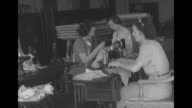 / Gen Douglas MacArthur speaking and uniformed Filipinos at attention / VS women at pedal sewing machines / Mrs Francis Bowes Sayre Sr wife of the...