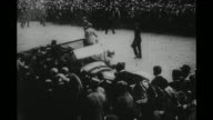 US Gen John Pershing arrives at Hotel de Crillon with large crowd looking on