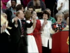 Labour LS Kinnocks on stage with gospel chorus actresses Glenda Jackson Miriam Karlin Anna Wing singing 'We shall overcome' SOF ZOOM IN Kinnocks...