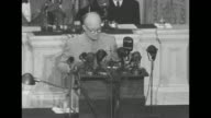 US General Dwight Eisenhower addresses joint session of Congress in Washington DC after Allied victory in Europe [lip flap throughout varying audio...