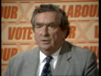 Denis Healey claims there is no way the Alliance could form a government ENGLAND London Transport House INT Peter Shore MP Denis Healey MP Jim...