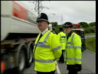 General Election 2001 campaign fuel protests ITN Milford Haven EXT Fuel protestors talking to tanker driver to try to persuade him to turn around...