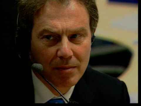 Campaigning NAT BILL NEELY Labour ENGLAND Croydon EXT Tony Blair MP along as arriving at hospital to visit health workers Blair putting on headphones...