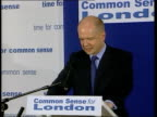 Campaigns London INT Conservative Party Leader William Hague into room to applause PAN People in audience applauding William Hague speaking SOT Talks...