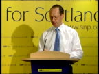 Scotland ITN John Swinney sat at computer Swinney across to podium John Swinney speech SOT New Labour can win this election in England without...