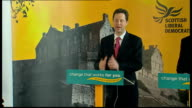 Clegg press conference in Edinburgh Clegg speech SOT Those cuts include dramatic change at the Ministry of Defence / We have highest ratio of...