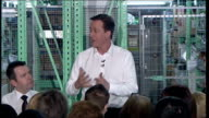 Conservative Party campaign David Cameron at ASDA Wolverhampton *** BEWARE David Cameron MP addressing ASDA staff in warehouse SOT This is my first...