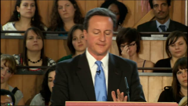 Conservative Party campaign David Cameron speech on 'Mending our Broken Society' Cameron speech SOT We need to move from big government to the Big...
