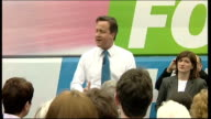 David Cameron campaigning in Loughborough David Cameron addressing supporters with battle bus in background SOT Today the three Labour MPs who...