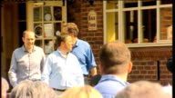 David Cameron speech at launch of Conservative manifesto for older people ENGLAND Wiltshire Swindon EXT David Cameron arriving in pub garden to...