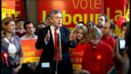 Gordon Brown and Glenda Jackson visit North London Tavern Gordon Brown addressing supporters SOT Apologise for being a few minutes late / on Glenda...