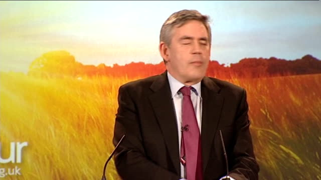 Gordon Brown giving speech on NHS in Corby Brown speech SOT Get letters every day about NHS / Got one from lady who because of early cancer screening...