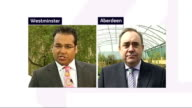 hung parliament fifth day talks ENGLAND London Westminster EXT Alex Salmond MSP LIVE 2WAY interview from Aberdeen SOT On possible progressive...
