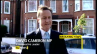 hung parliament fifth day talks ITV News Special PAB 1655 1830 West London PHOTOGRAPHY ** David Cameron speaking to press as departs home on Tuesday...