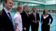 Labour Party campaign Gordon Brown launches sports manifesto at Loughborough university INT More of Brown and Reed chatting to students SOT / Brown...