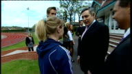 Labour Party campaign Gordon Brown launches sports manifesto at Loughborough university Brown Jowell and Reed watching gymnast performing Prime...