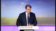 Labour Party launch families manifesto press conference with Mandelson Balls and Cooper ENGLAND London Labour HQ INT Lord Mandelson introduction SOT...
