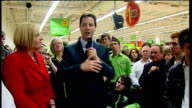 Lib Dem Leader Nick Clegg walkabout and speech at ASDA Harrogate Clegg SOT We need a politics where politicians listen to you under current system...