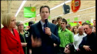 Lib Dem Leader Nick Clegg walkabout and speech at ASDA Harrogate Clegg SOT Five million people in UK waiting to buy home / Would like to convert...