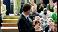 Nick Clegg giving speech at Oxford Brookes University Clegg speech SOT Challenges on how to restore trust and on dealing with public finances but...