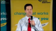Nick Clegg speech in Glasgow Nick Clegg speech SOT Every vote you give us is a vote for a fairer economy no longer held hostage by a small clique of...