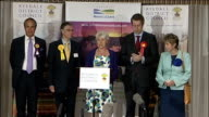 Overnight result in Thirsk Conservatives win ***FLASH ENGLAND North Yorkshire Thirsk INT Candidates on stage as Returning Officer announces...