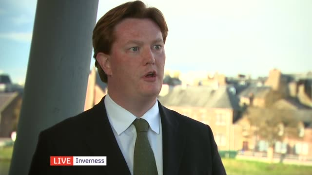 Campaigning SCOTLAND Inverness EXT Danny Alexander interview SOT Talks of the Liberal Democrat red line in coalition talks on education spending /...