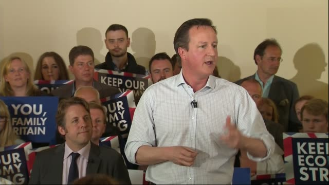 Conservative David Cameron warns against SNP influence ENGLAND Somerset INT David Cameron speech SOT we are the only people that can stop the...