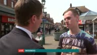 Conservatives launch English manifesto ENGLAND Lincolnshire Skegness EXT Reporter to camera Vox pops Reporter to camera