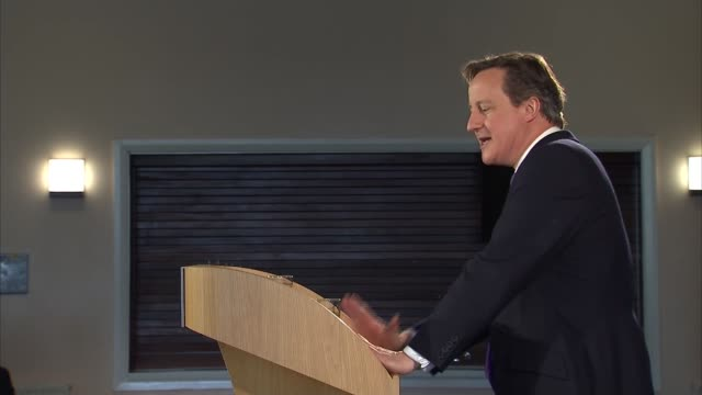 David Cameron speech to launch Welsh manifesto WALES Brecon PHOTOGRAPHY *** David Cameron MP speech at launch of the Welsh Conservative manifesto SOT...