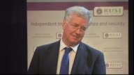 Defence Michael Fallon speech outlining Conservative Party defence policy Michael Fallon question and answer session SOT no further cuts to size of...