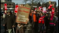 Future of NHS in London ITN LIB / ITV News Lewisham 'Save Lewisham Hospital' protest march outside hospital/
