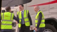 George Osborne interview ENGLAND Cheshire Runcorn Whitehouse Industrial Estate EXT Freight First lorry arriving and George Osborne MP down from cab...